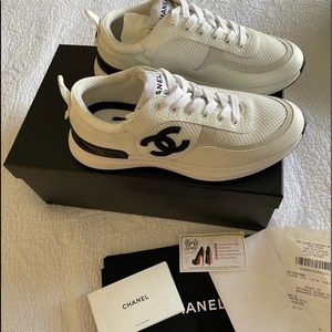 21S Chanel Black White Trainers Sneakers New 38.5